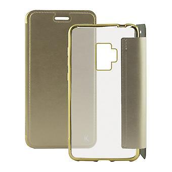 Folio mobiltelefon fall Galaxy S9 Plus KSIX Metal Golden