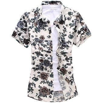 Allthemen Men's Plant Floral Big Size Casual Short Sleeves Shirt