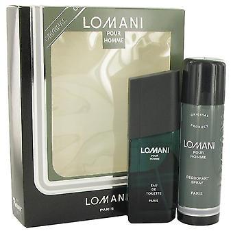 Jogo do presente de Lomani Lomani 3,4 oz Eau De Toilette Spray + Desodorante Spray 6,7 oz