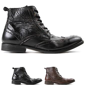 Mens Hudson London Simpson Calf Leather Brogue Formal Smart Ankle Boots
