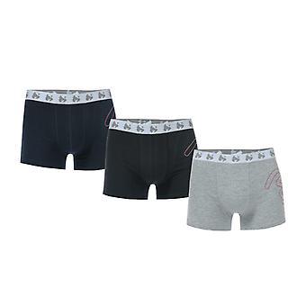 Boy's Geld Schwarz Label 3 Pack Boxer Shorts in blau