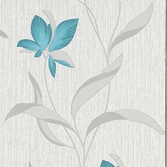 Flower Wallpaper Floral Textured Glitter White Teal Silver Vinyl Erismann