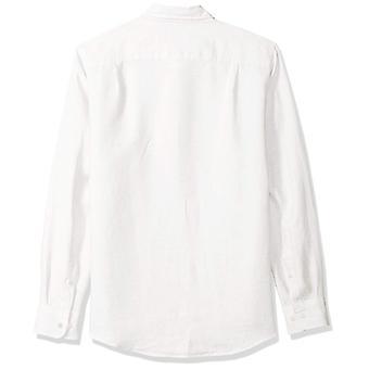 Essentials Men's Slim-Fit Camisa de linho de manga comprida, branco, X-Grande