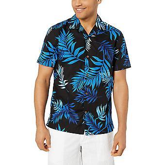28 Palms Men's Standard-Fit 100% Cotton Tropical Hawaiian Shirt, Black/Blue M...