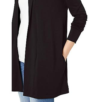 Daily Ritual Women&s Supersoft Terry Open Bluza, Czarny, X-Large