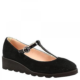 ليوناردو أحذية المرأة & apos;ق أسافين المصنوعة يدويا مضخات الأحذية في جلد الغزال الأسود مع إغلاق مشبك