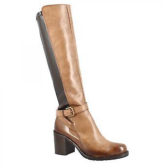 Leonardo Shoes Women's handgemaakte hakken knie hoge laarzen in brandy donkerbruin leer met rits en gesp