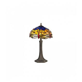 Clio 2 Light Octagonal Table Lamp E27 With 40cm Tiffany Shade, Blue/orange/crystal/aged Antique Brass