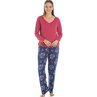Camille Womens Raspberry Floral Print Spandex Pyjamas