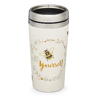 Cooksmart Bumble Bees Bamboo and Steel Travel Mug