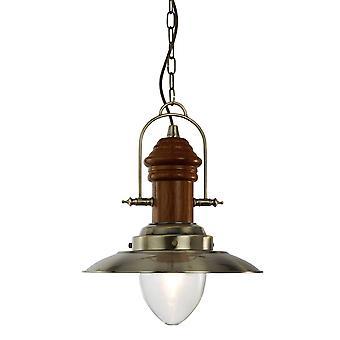1 Lichte Koepel plafond hanger antieke messing, hout, helder glas, E27