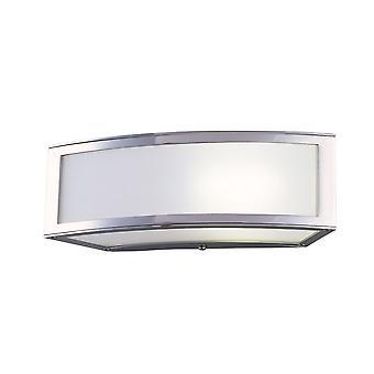 Inspiriert Mantra - Duna - E27 Flush Wandlampe 1 Licht E27, poliert Chrom, weiß Acryl