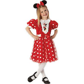 Girls Ages 3 - 8 Years Minnie Mouse Costume With Ears Fancy Dress