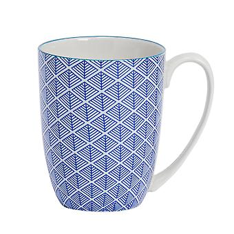 Nicola Spring Geometric Patterned Tea and Coffee Mug - Large Porcelain Latte Cup - Navy Blue - 360ml