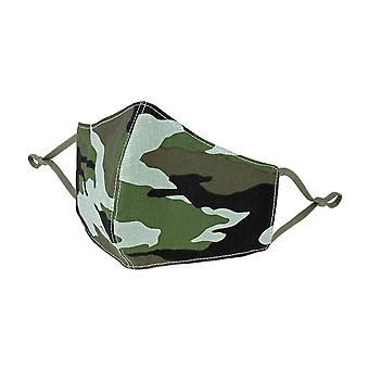 Groene camouflage print katoenen gezichtsmasker