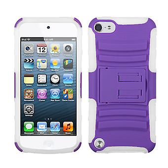 Asmyna Advance Armor Stand Case for iPod Touch 5th Gen - Purple/Solid White