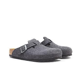 Birkenstock Boston Antracite Grey Wool Vils Sandalen