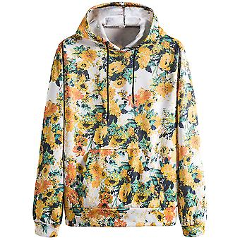 Allthemen Men's Printed Flowered Hooded Sweater Long-sleeve Large Size Autumn