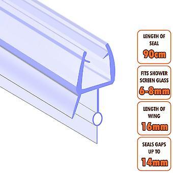 ECOSPA Bath Shower Screen Door Seal Strip - for 6-8mm Glass - Seals Gaps to 15mm