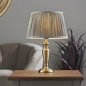 Endon Lighting Oslo & Freya - Tafellamp antieke koperen plaat en houtskool grijze zijde 1 Licht IP20 - E27