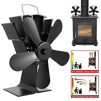 Black Fireplace 5 Blade Heat Powered Stove Fan, Wood Burner Eco-friendly Home