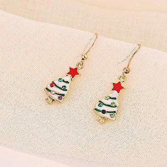 Mooie oorbellen met mooie kerstboom gouden beplating steentjes Kerstmis