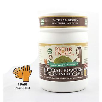 Herbal Hair Color Powder W/ Gloves - Natural Brown