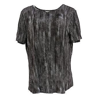 Lisa Rinna Collection Women's Top Short Sleeve Round Neck Gray A291099