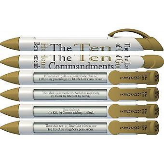 36030, Greeting Pen 10 Commandments Scripture Pens, Scripture Verses With Rotating Messages, 6 Pen Set (36030)
