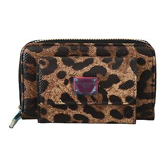 Brown Leather Leopard Red Logo Coin Purse
