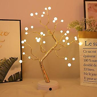 Usb Fire Tree Light Copper Wire Table Lamps, Led Night For Home, Bedroom