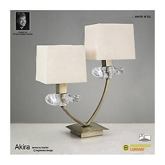 Akira Tafellamp 2 E14 Bollen, antiek messing met crèmeschaduw