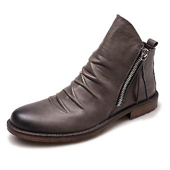 New Fashion Casual Leather Double Zip Ankle Boots For Spring/autumn