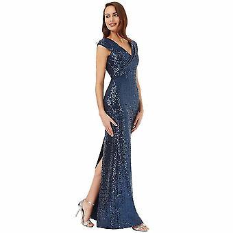 Pleated neckline sequin maxi dress
