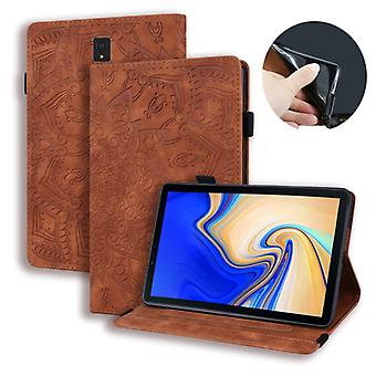 For Galaxy Tab S4 10.5 T830 / T835 Calf Pattern Double Folding Design Embossed Leather Case with Holder & Card Slots & Pen Slot & Elastic Band(Brown)