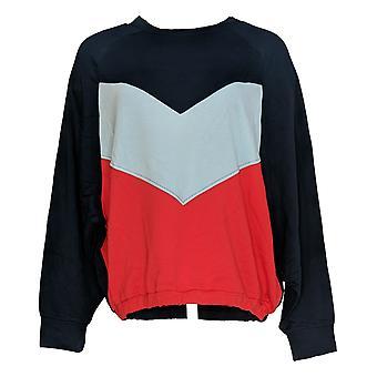 G.I.L.I. Got It Love It Women's Sweater Color Blocked Long Sleeve Blue A374955