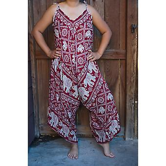 Red Elephant Boho Hippie Jumpsuit Rompers