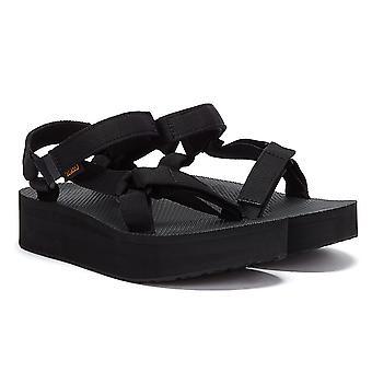 Teva Womens Black Flatform Universal Sandals