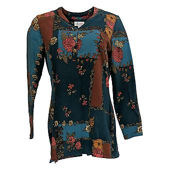 Denim & Co. Women's Top Printed Perfect Jersey Long- Sleeve Blue A353016
