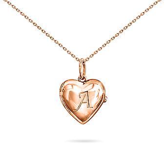 Naszyjnik dla niemowląt Locket Heart Letter, 18K Gold - Różowe Złoto, H
