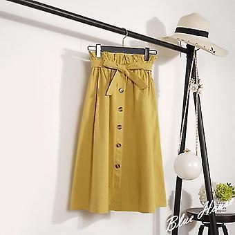Verão-outono Mulheres 'midi comprimento do joelho coreano elegante botão de cintura alta saia