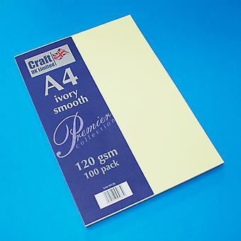 Craft UK Premium Collection A4 Ivory Smooth Paper Pack