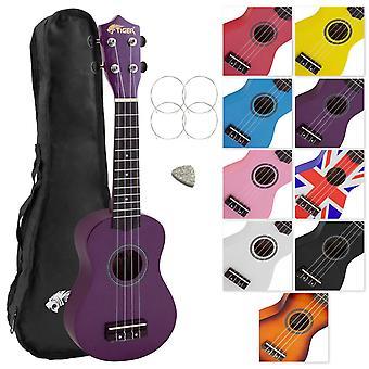 Tiger uke7 soprano ukulele for beginners includes gig bag, felt pick, spare set of strings - purple