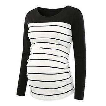 Scoop Neck, Flattering Side, Ruched Long Sleeve Pregnancy T-shirt