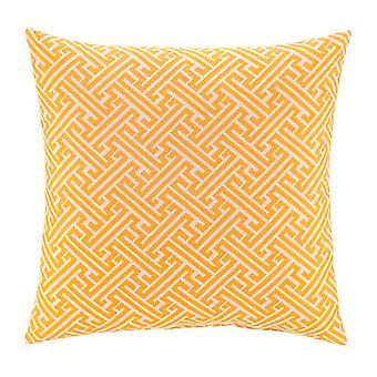 "Zeus Jacquard Woven Square Pillow 18"" X 18"", Yellow"