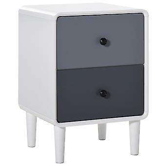 HOMCOM Modern Side Cabinet Nightstand Home Organizer with 2 Storage Drawer Unit for Bedroom, Living Room