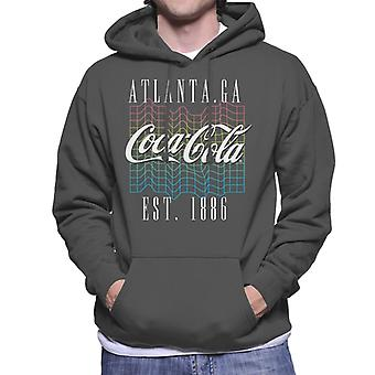 Coca Cola Colourful Grid Logo Men's Hooded Sweatshirt