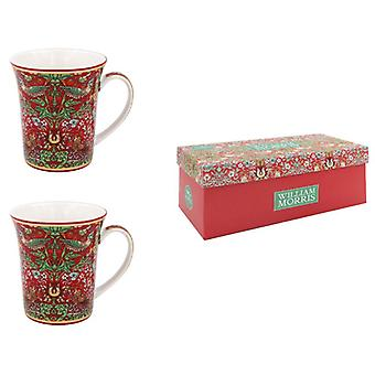 William Morris Strawberry Thief Red Set Of 2 Mugs By Lesser & Pavey