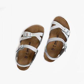 Birkenstock Rio 1019157 (reg) Girls Birko-flor Two Strap Sandals Electric Metallic Silver