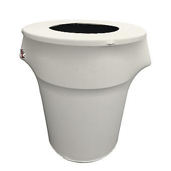 La Linen Stretch Spandex Trash Can Cover 44-Gallon Round,White